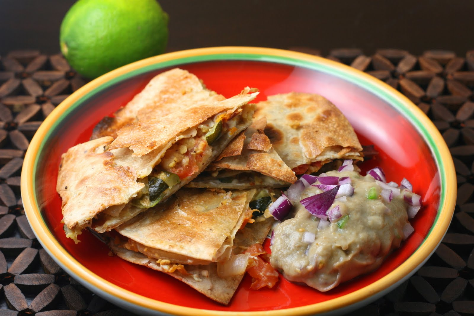 Mexican Tomato Rice And Bean Quesadilla With Sharp Cheddar And Sour ...