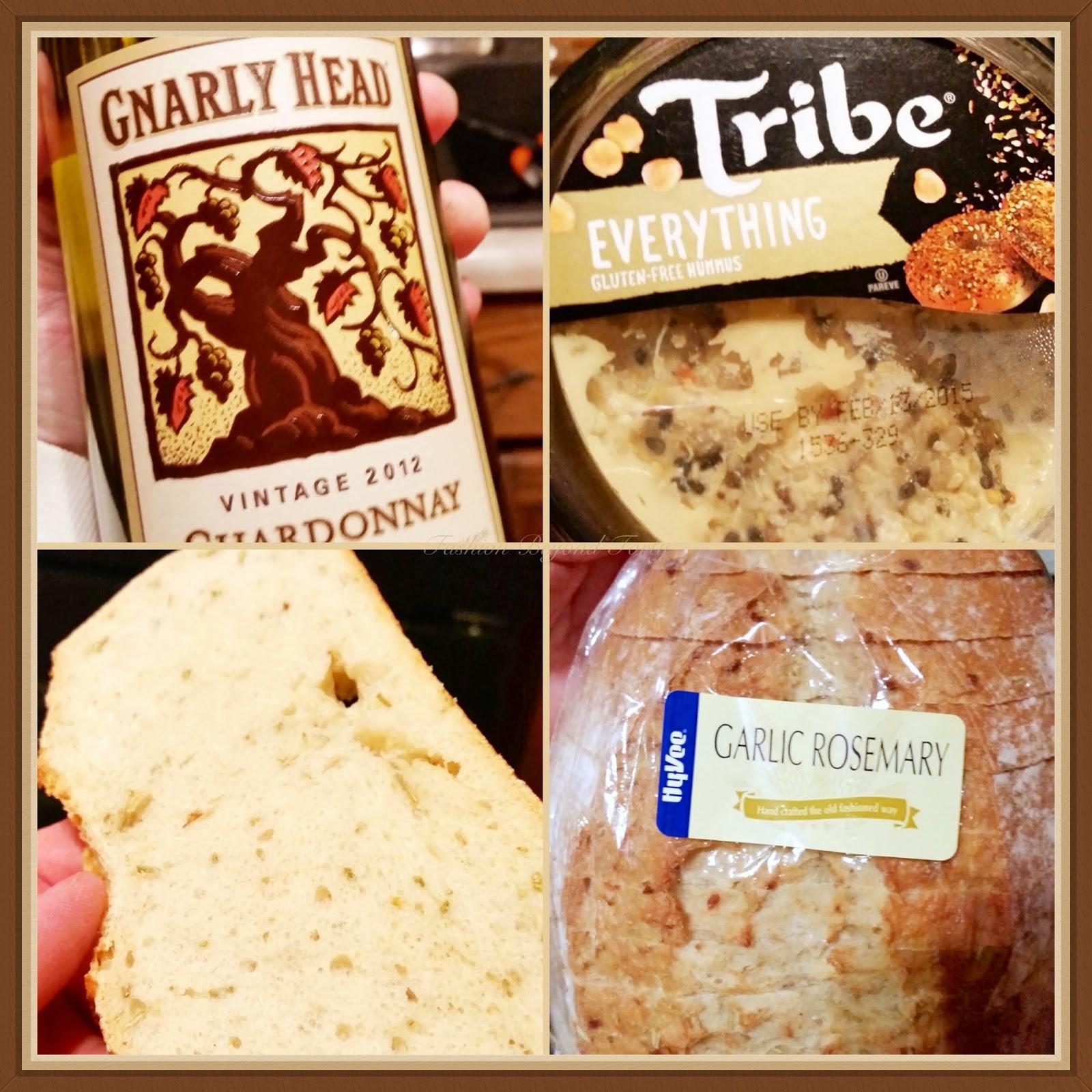 Good Foods Everything Hummus, Gnarly Head Wine, Garlic Rosemary Bread
