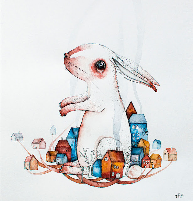 animal watercolor and ink paintings by  Norvile Dovidonyte