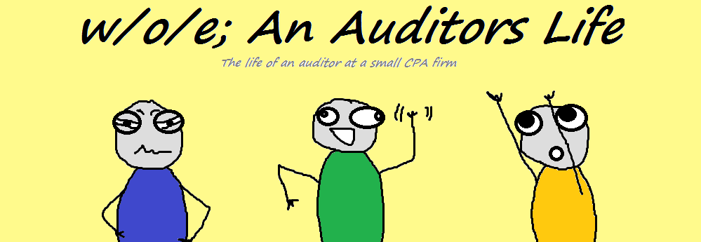 w/o/e; An Auditors Life