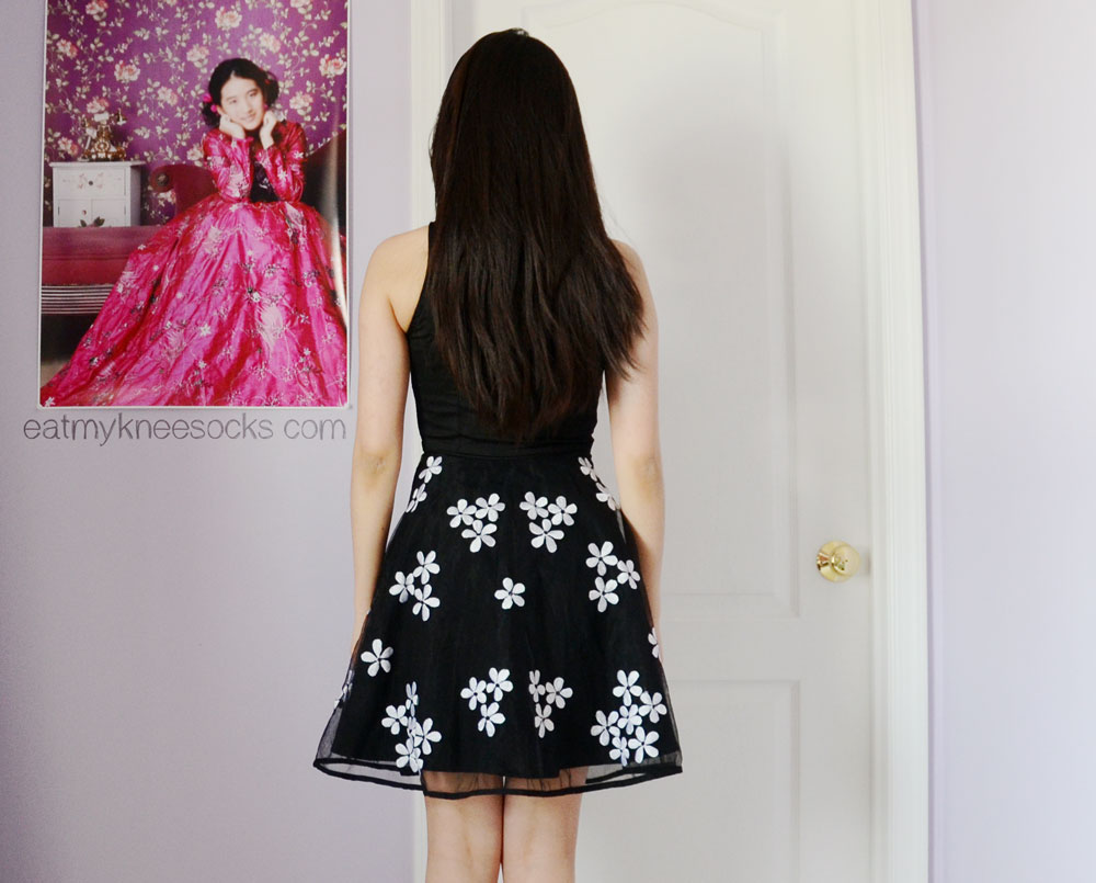 The back of the black floral tulle dress from eShakti.