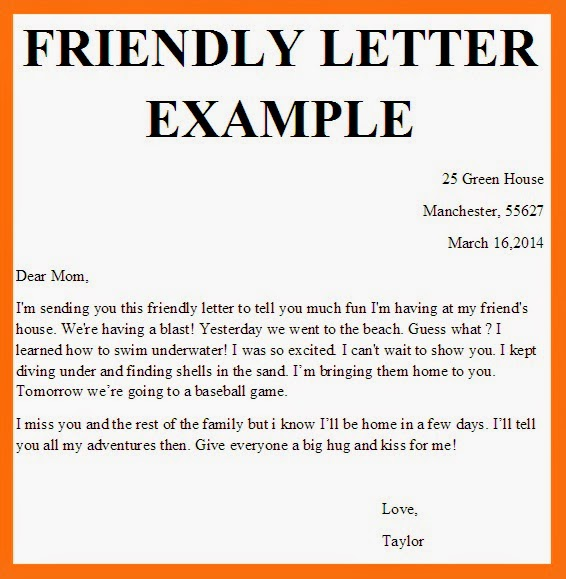 Business Letter Examples Friendly Letter Format