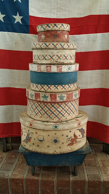 Patriotic Paint Decorated Boxes accented with Vintage Wallpaper