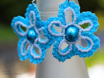gunadesign crochet earrings Ice Flower