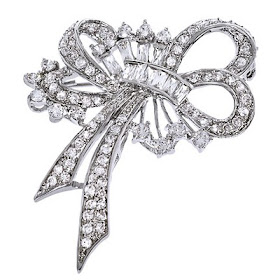 Diamond Silver Forget Me Not Brooch