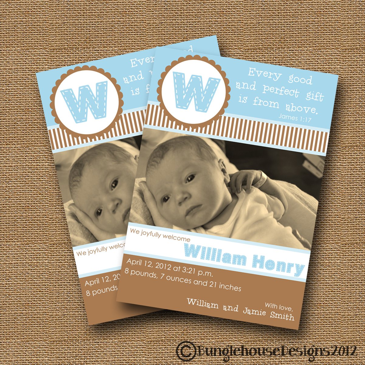 Bunglehouse January 2012 – Bible Verses for Baby Announcements