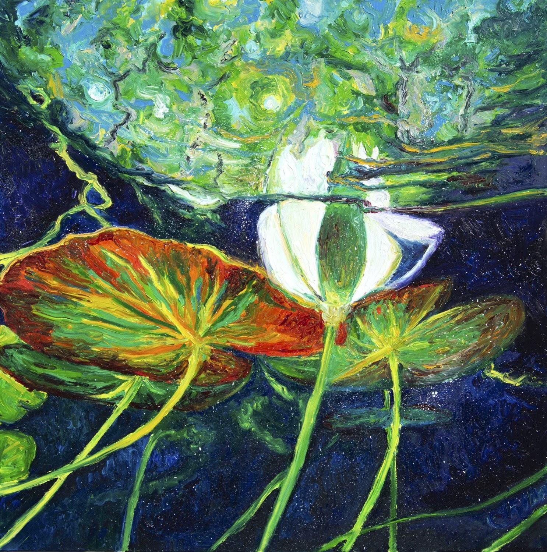 Chiara Magni under waterlillies