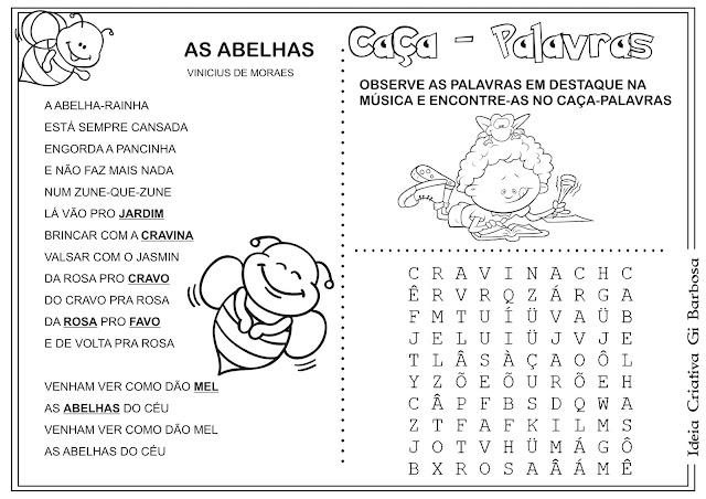 Caça - palavras Obra Vinicius de Moraes As Abelhas