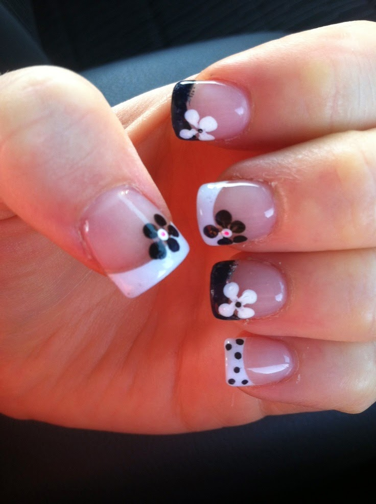 Nail designs french tip nail designs i love how this person dressed up quite simple black and white tips with flowers and even some polka dots it really goes to show you how just a few simple prinsesfo Image collections