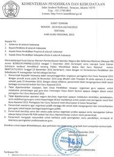 6 Poin Penting dalam Surat Edaran Kemendikbud Terkait Hari Guru Nasional Tahun 2015