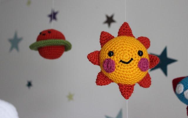 Baby mobile crochet sun
