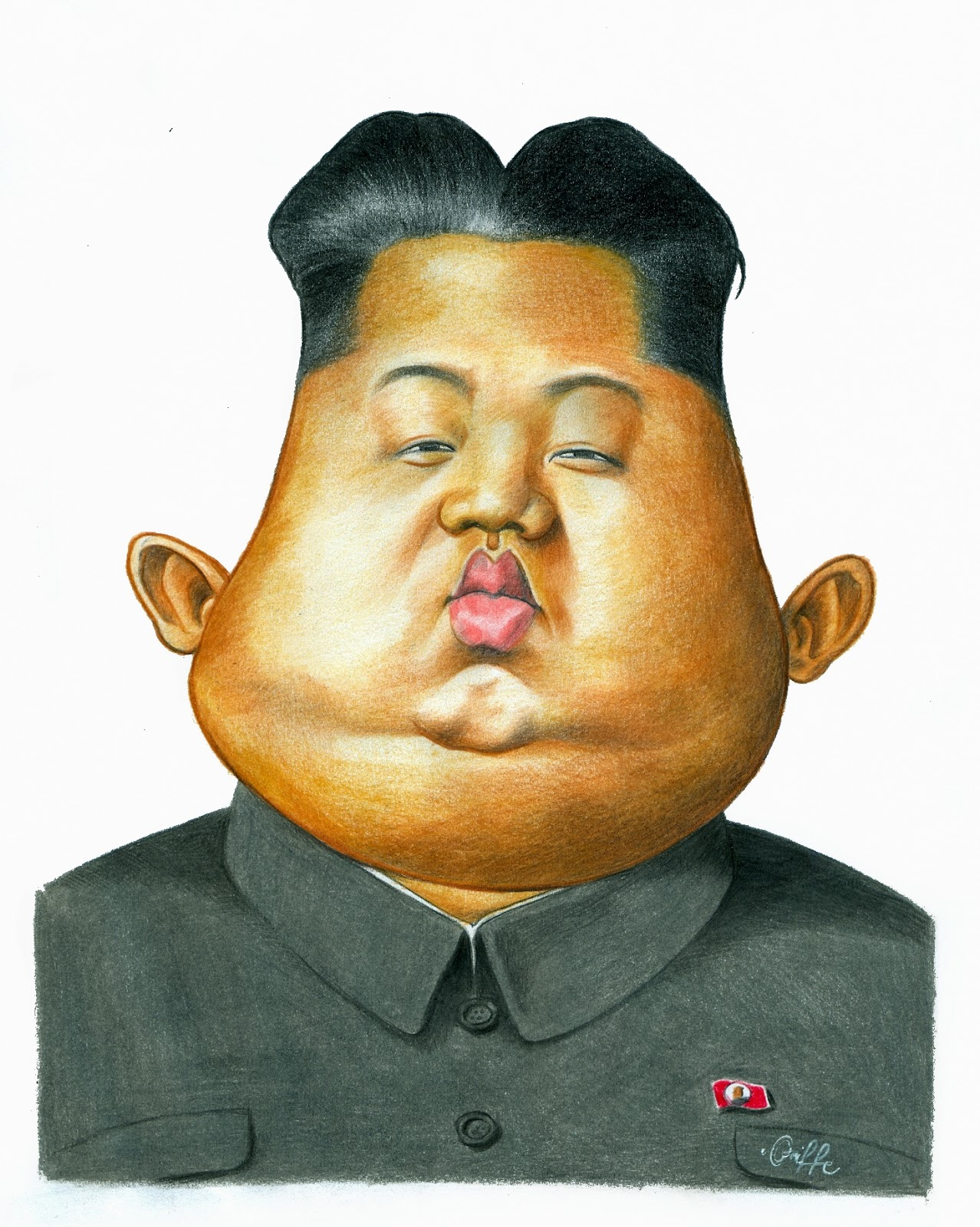 how to draw simple caricature kim jong un