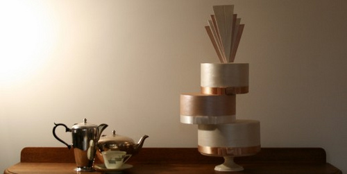 A beautiful light blue wedding cake from a vintage Art Deco inspired real