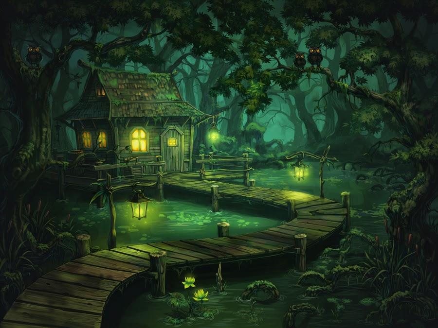 illustration de Alexander Shatohin représentant une maison dans un marais