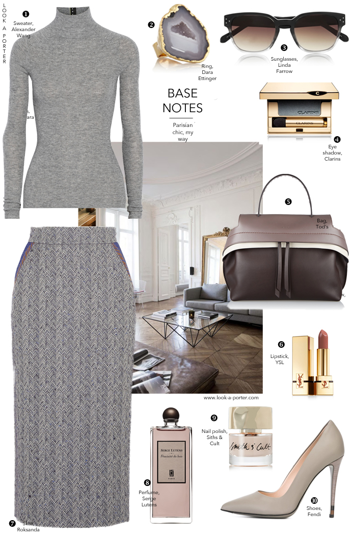 Parisian chic inspired outfit idea / elegant workwear look / how to wear grey / via www.look-a-porter.com