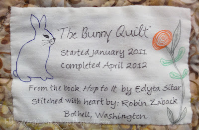The Bunny Quilt, view of label