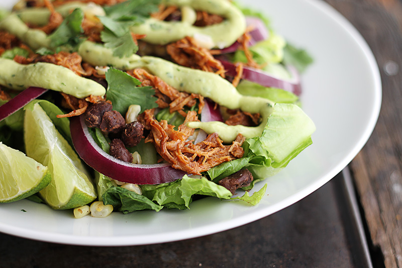 ... : Slow Cooker BBQ Chicken Salad with Creamy Avocado Dressing