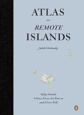 Cover of Atlas of Remote Islands, light blue with a black tape binding