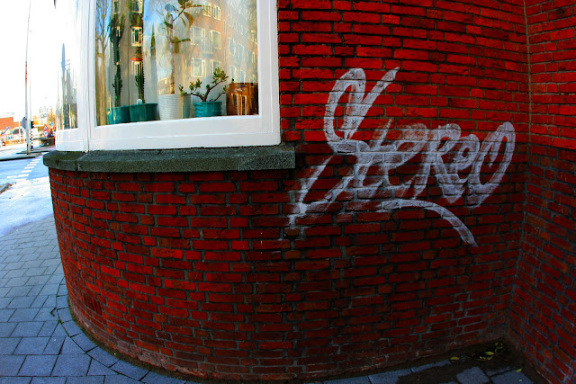 Stereo graffiti on bricks in Rotterdam, Holland.