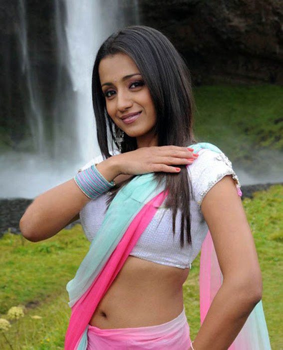 Trisha in HalfSaree Exposing her Navel with Short White Blouse  latest photos