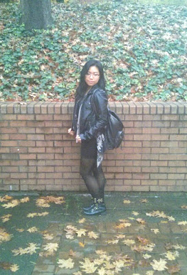 leather jacket black skirt black backpack