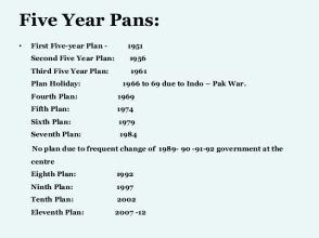 second 5 year plan