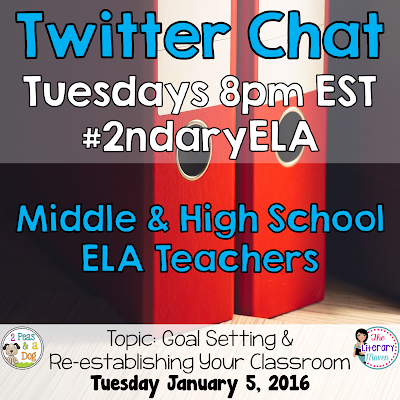 Join secondary English Language Arts teachers Tuesday evenings at 8 pm EST on Twitter. This week's chat will focus on goal setting and re-establishing your classroom.