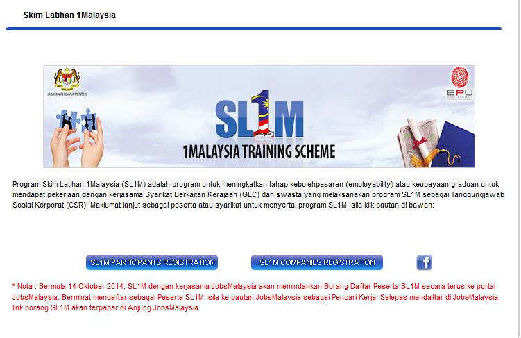 Skim Latihan 1Malaysia (SL1M) Online