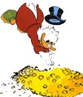 Скрудж МакДак купается в своих деньгах