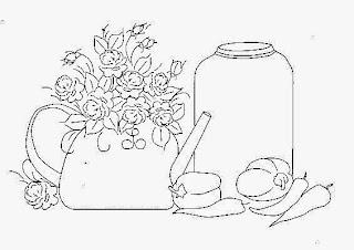 desenho de bule com rosinhas, um pote , pimentoes e pimentas para pintar em tecido