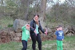 Min dotter Marika och mina barnbarn Axel och Viktor