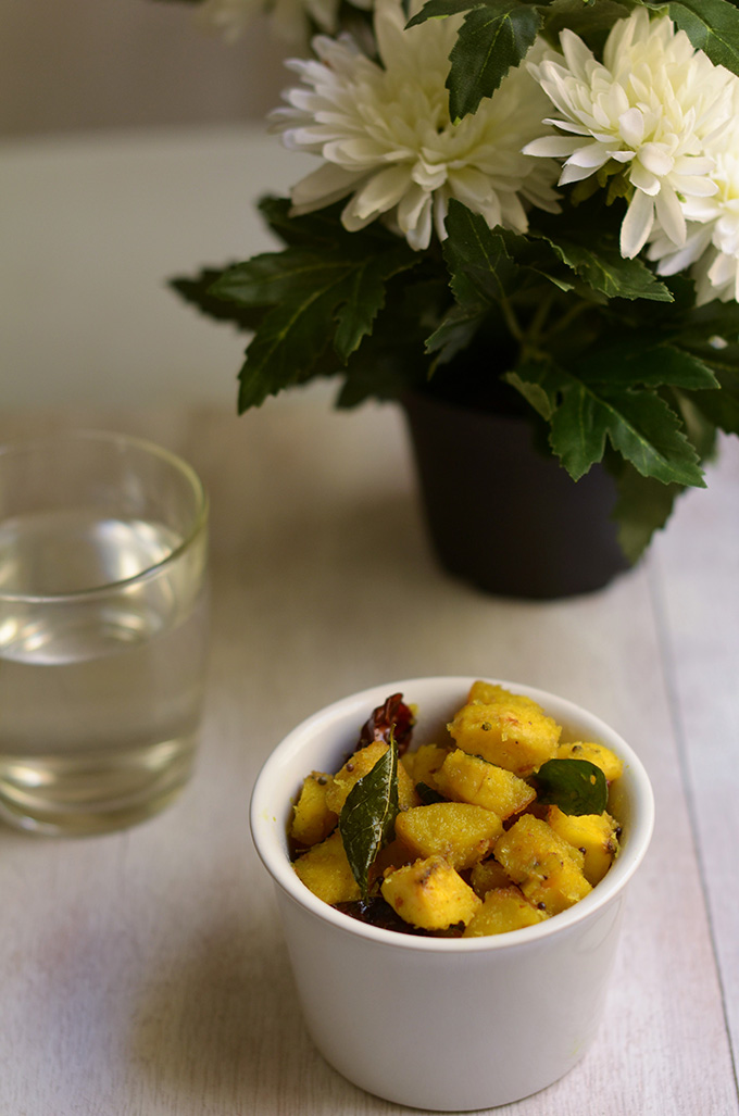 yellow plantains cooked with dessicated coconut and curry leaves