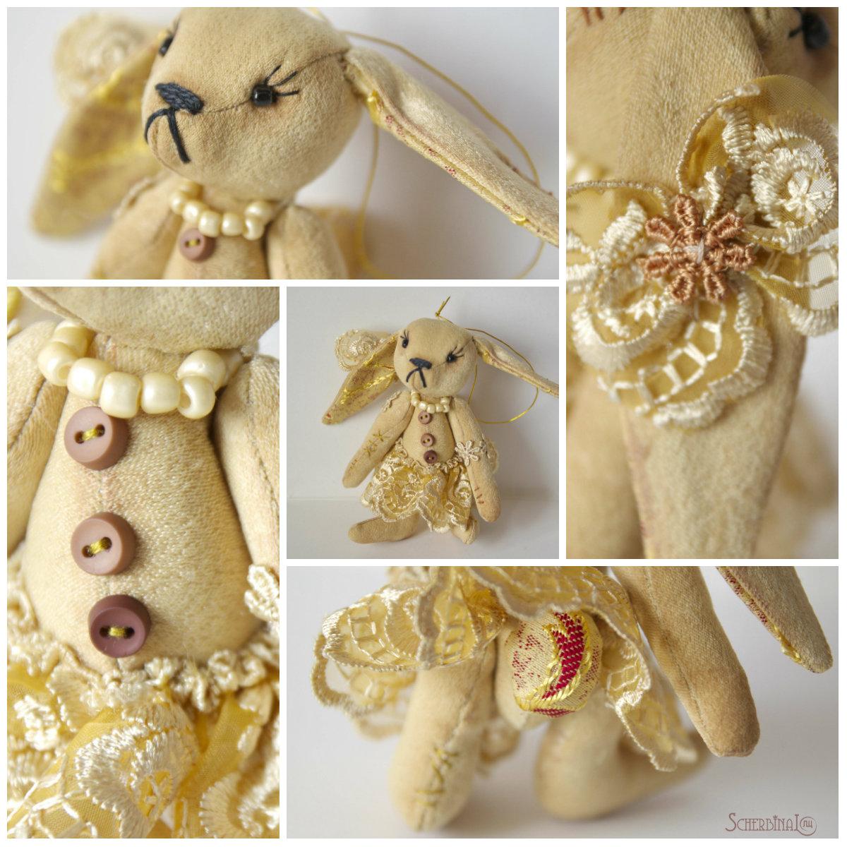 мини зайки, игрушки на ёлку своими руками