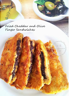 Fried Cheddar and Olive Finger Sandwiches from Little Joy Factory
