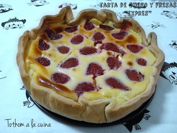 Tarta de queso y fresas exprés