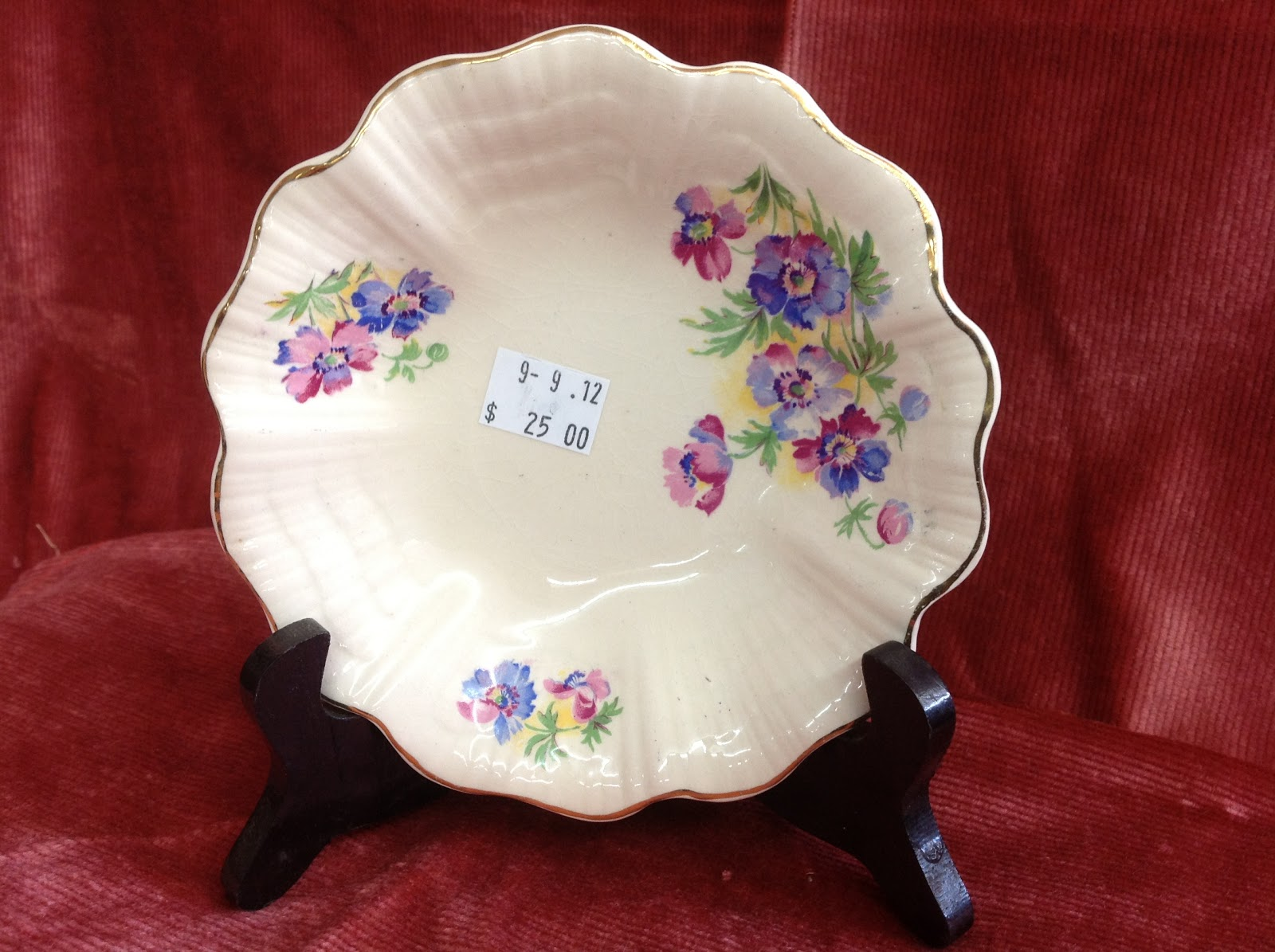 Pretty fluted bone china dish - England pink and purple sprays of flowers