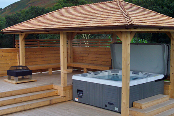 Simon bowler bespoke garden architecture wooden hot tub for Hot tub shelters