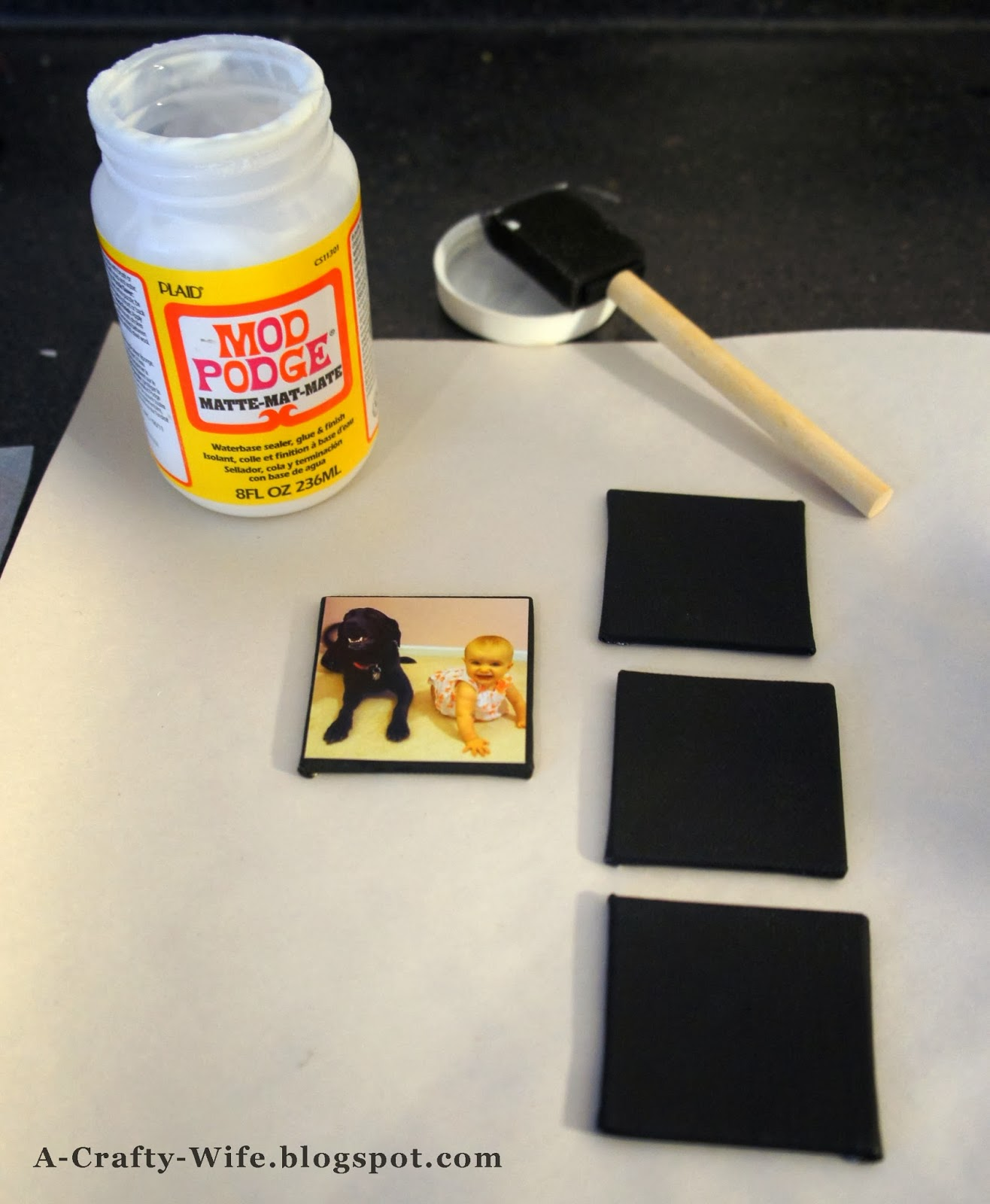 Use Mod Podge to attach photos to canvas for photo magnets  | A Crafty Wife