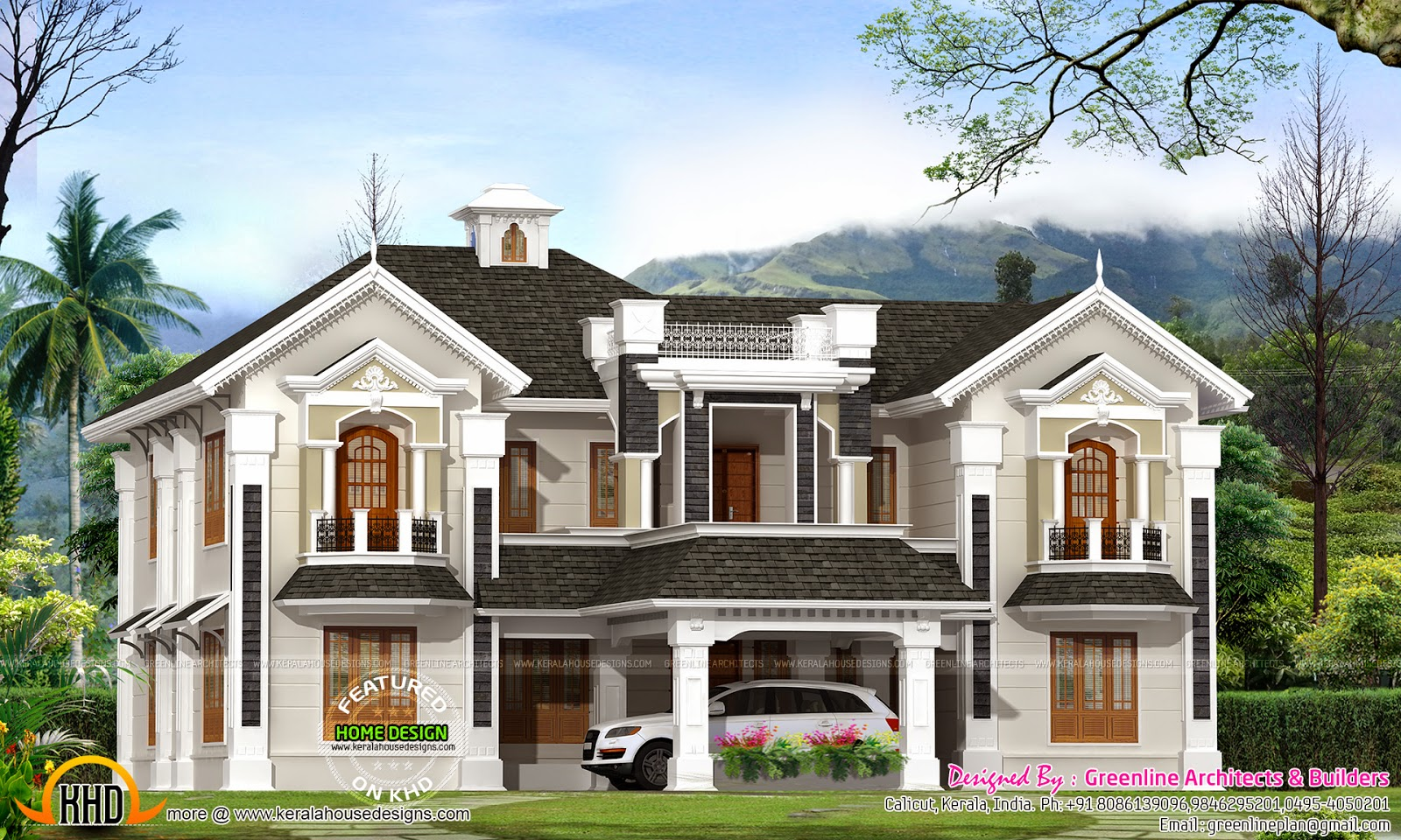 Colonial style house in kerala kerala home design and for Colonial style homes pictures