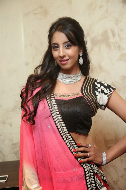 Sanjana in lovely Black Choli and Designer Transparent Pink Cream Saree