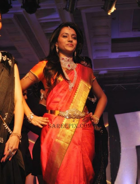 Trsiha-posing-silk-saree-NAC-Jewellers-Fashion-show