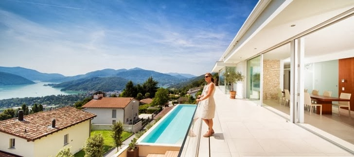 Terrace view in Beautiful House Lombardo by Philipp Architekten