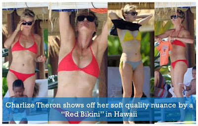 Charlize Theron Red Bikini Hawaii