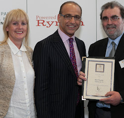 Theo Paphitis presenting our 'sbs' winners certificate to members, Bob Thacker & Helen Cartlidge