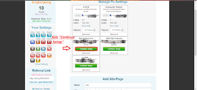 klik continue setup