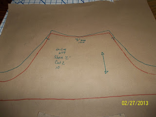 pivot pattern to increase mark to increase sleeve width retrace pattern