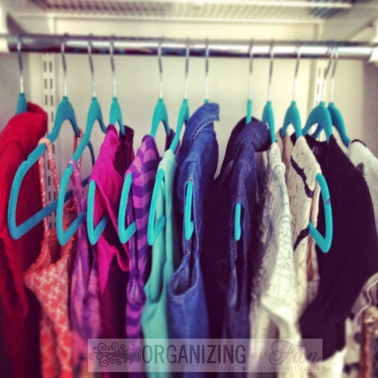 My favorite hangers - slim hangers keep clothes organized and neat :: OrganizingMadeFun.com