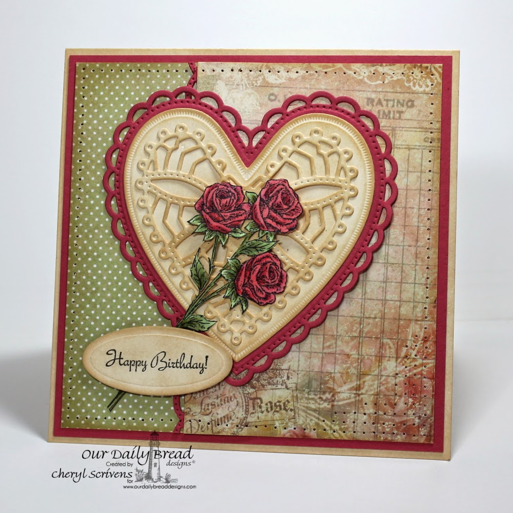 Properties:  Our Daily Bread Designs, ODBDSLC208, Rose, Rose Bouquet, Ornate Hearts Dies, Beautiful Borders Dies, ODBD Blushing Rose Paper Collection, CherylQuilts, Designed by Cheryl Scrivens