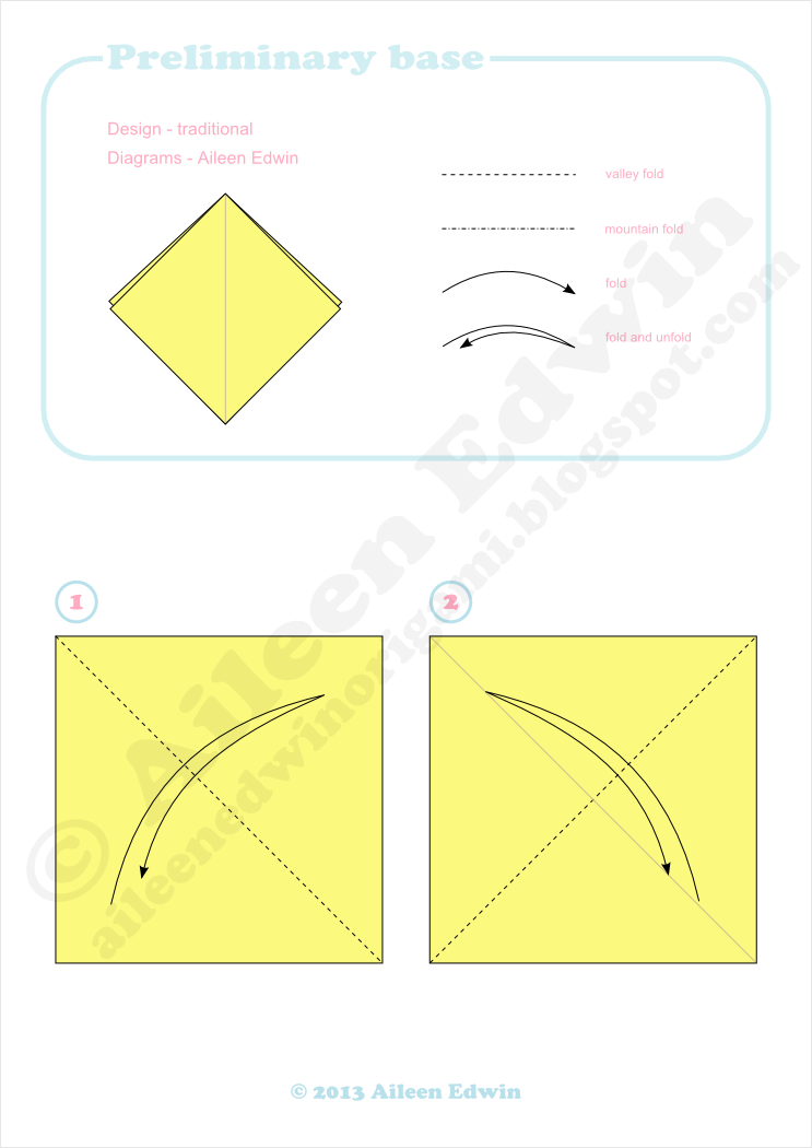 Origami preliminary base diagrams