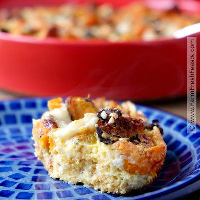 A vegetarian and gluten free breakfast casserole made from roasted sweet potatoes and Hatch chiles in a cornbread and custard base.